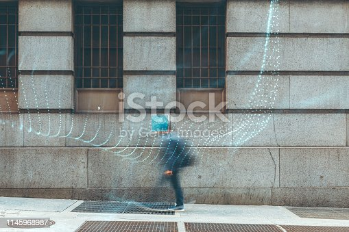 istock Blurred people with facial recognition 1145968987