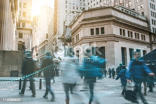 istock Blurred people with facial recognition 1145969037