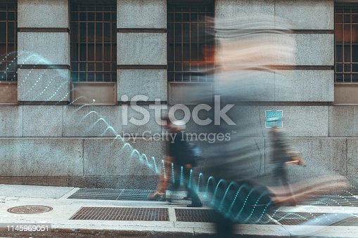 istock Blurred people with facial recognition 1145969051