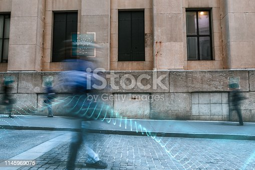 istock Blurred people with facial recognition 1145969075