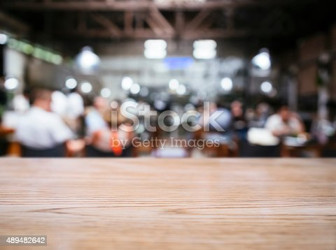 istock Blurred people with Restaurant bar cafe background 489482642