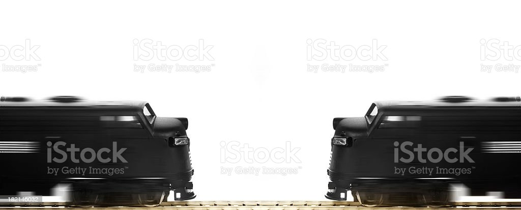 Blurred photo of 2 black trains facing each other royalty-free stock photo
