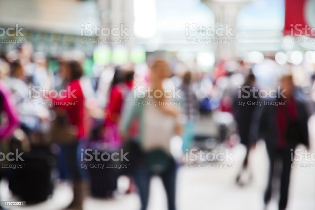 Blurred photo of a group of people at an airport  royalty-free stock photo