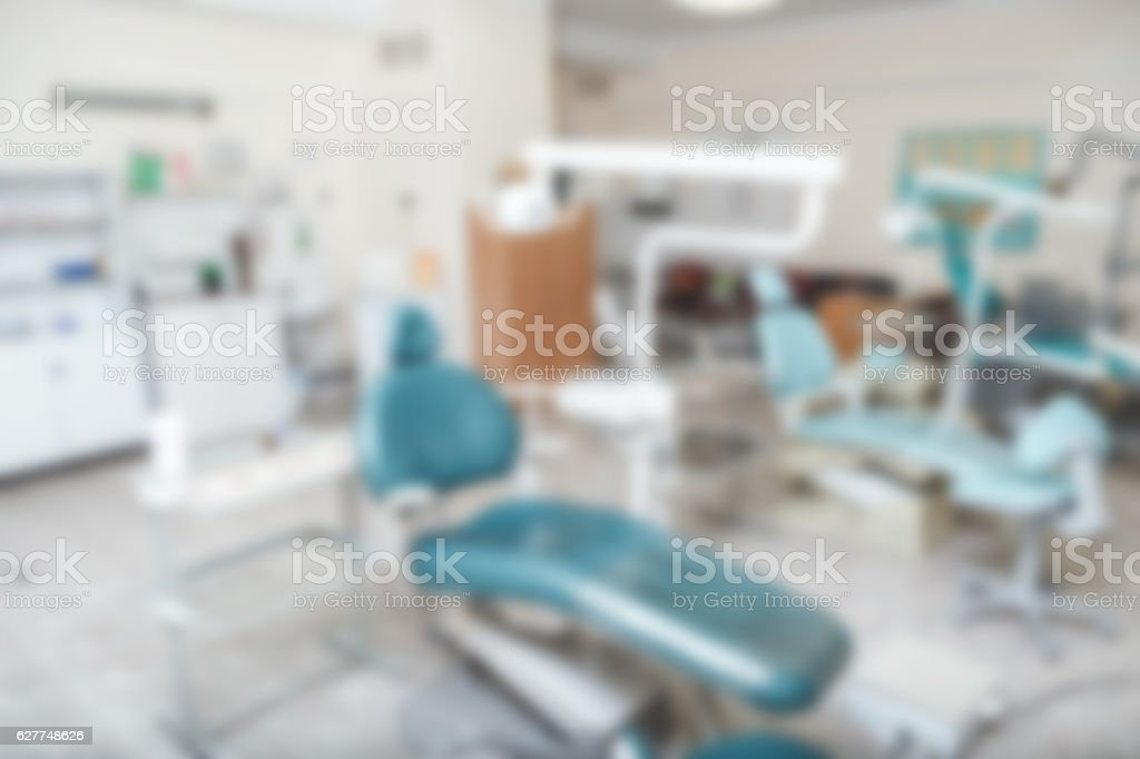 Blurred photo of empty dentist's office. Background stock photo