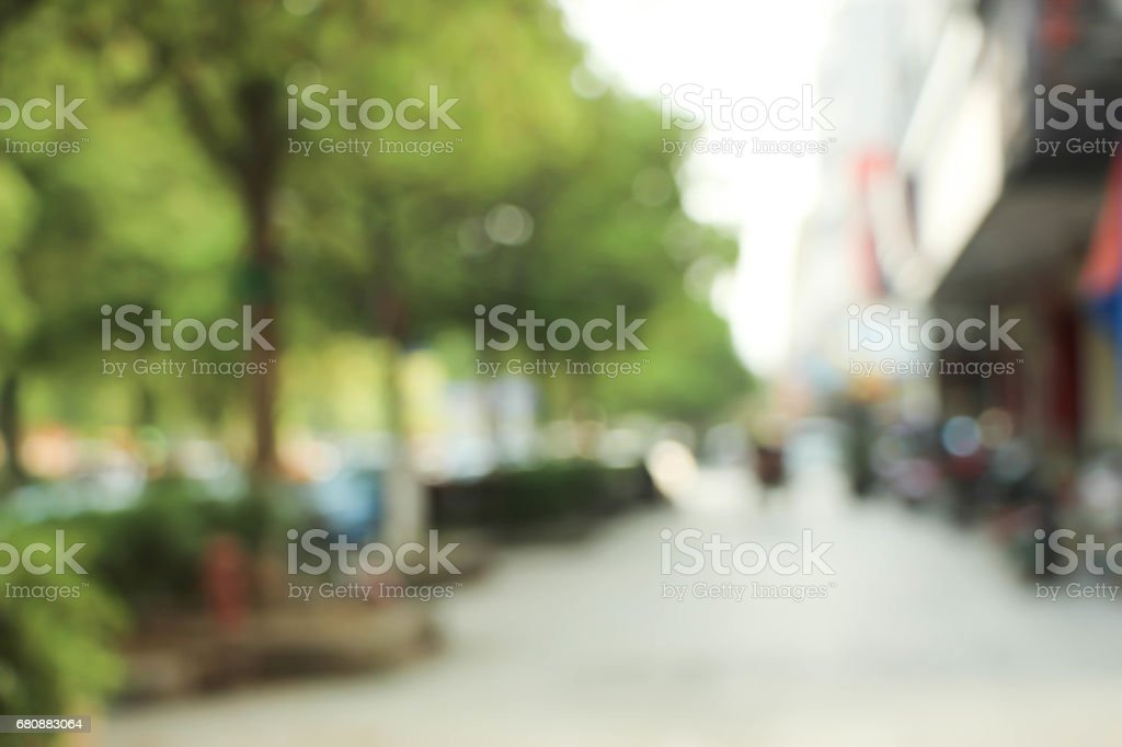 Blurred photo of outdoor car park in community shopping center. royalty-free stock photo