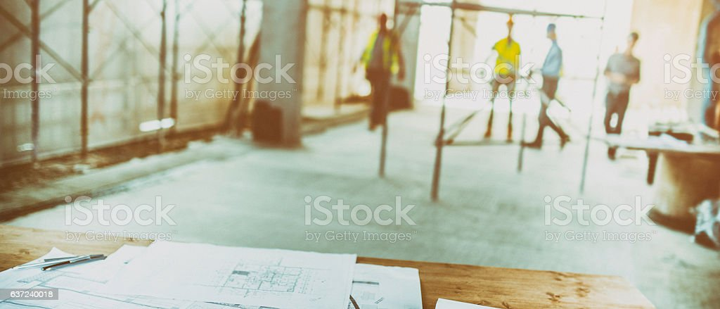Blurred reconstruction site stock photo