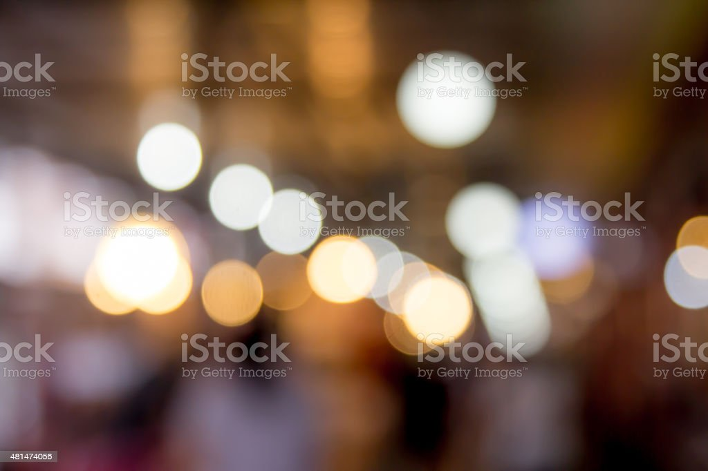 blurred restaurant in public market with bokeh in vintage color stock photo