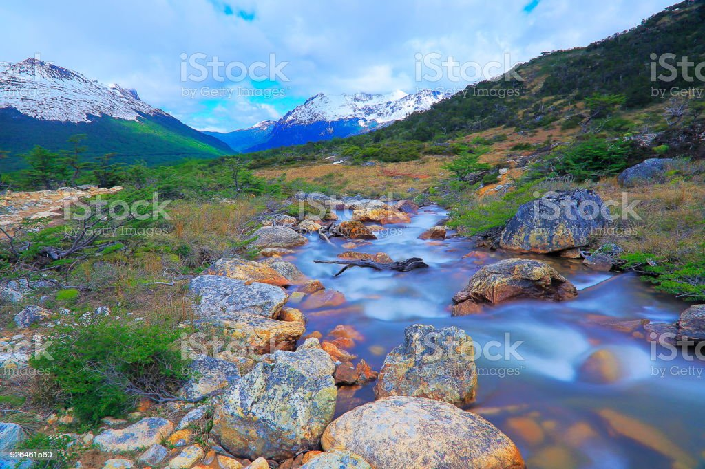 Blurred River from long exposure and Ushuaia landscape - Tierra Del fuego, Argentina stock photo
