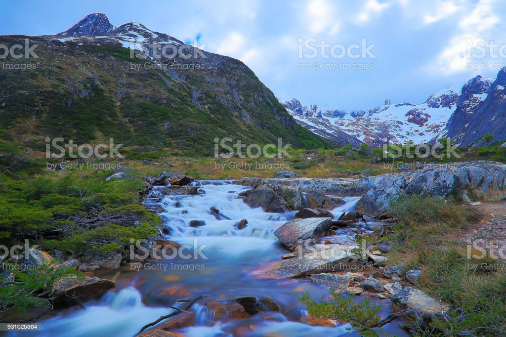 Blurred River from long exposure, Idyllic landscape, Ushuaia - Tierra Del fuego, Argentina stock photo