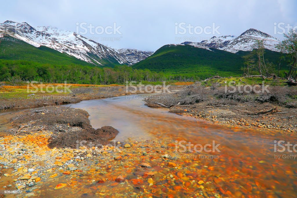 Blurred River from long exposure, Ushuaia landscape - Tierra Del fuego, Argentina stock photo