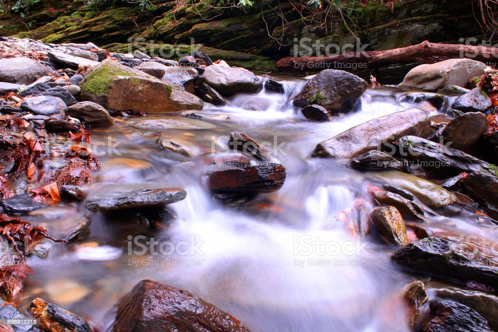 Blurred River Photo in the Woods of the Great Smoky Mountains. stock photo