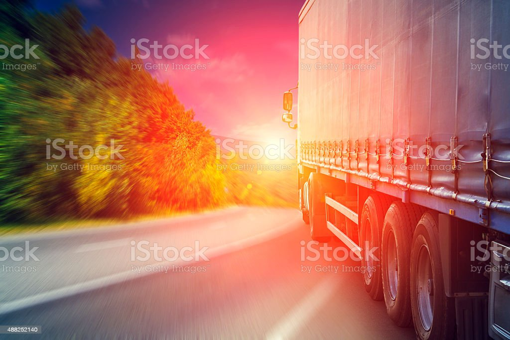 Blurred road and car stock photo