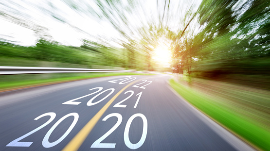 istock Blurred road with Number 2020, 2021, 2022 1150191447
