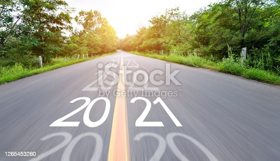 Blurred road with number 2020 cange 2021