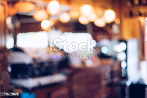 862429776 istock photo Blurred scene bar coffee decorative lighting warmth 929701524