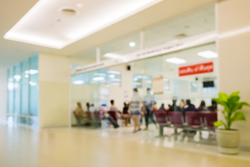 istock Blurred scene sliding glass in hospital 1126489266