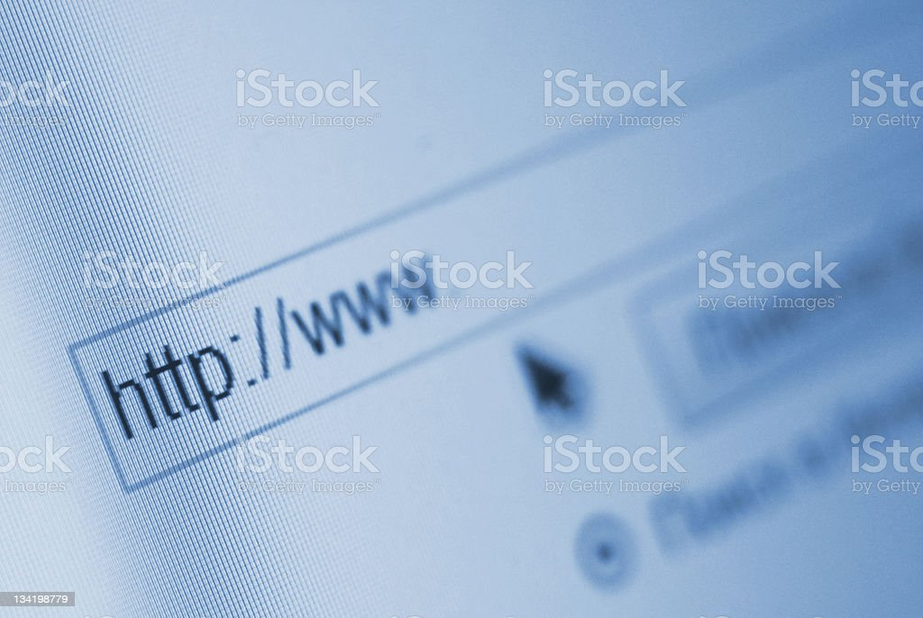Blurred screen of Internet browser and pointer stock photo