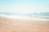 Blue sea and sandy beach. Blurred background. Travel and vacation