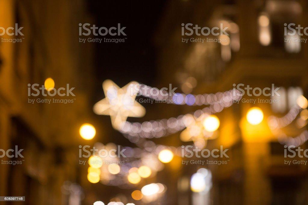 Blurred sky background night city round circle light.blur core...