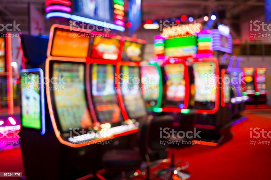 Blurred Slot machines in a casino stock photo