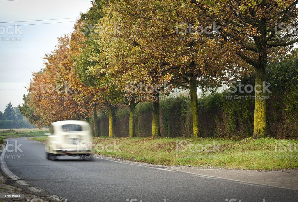 Blurred Small Car Passing With Autumn Trees royalty-free stock photo
