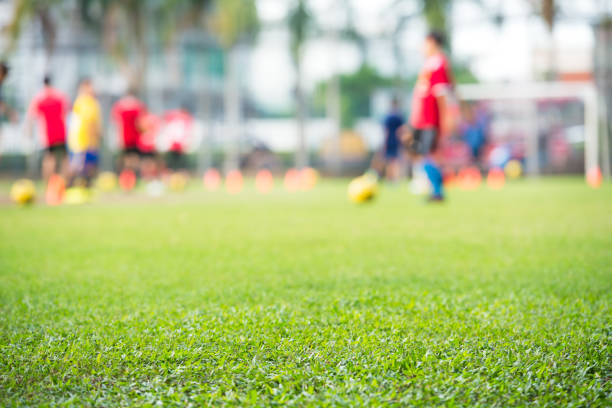 Blurred soccer practice court stock photo