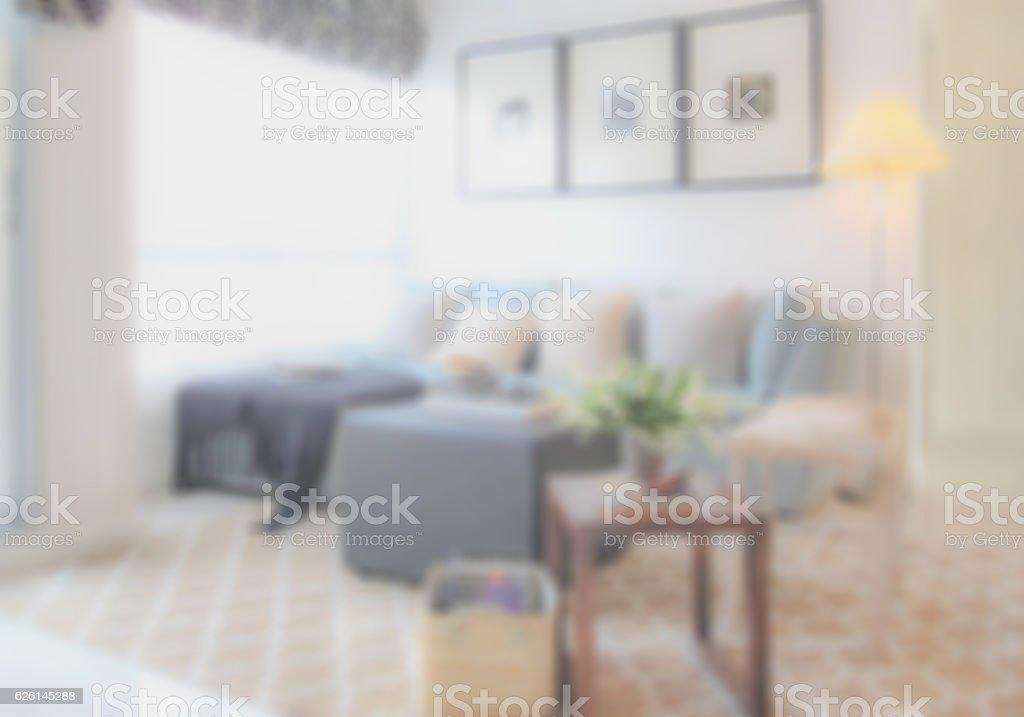 Blurred sofa set in modern living room stock photo