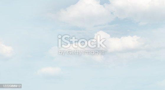 istock Blurred soft background. Cumulus clouds in a haze. 1222088912