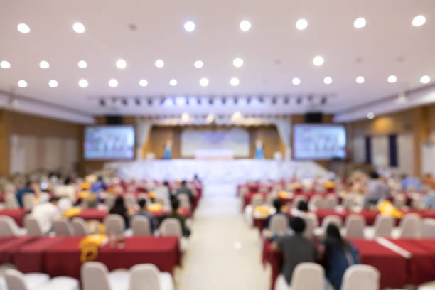 Blurred soft of Audience or seminar meeting, business and education concept company business meeting, convention center, education, financial economic forum, or organization event concept stock photo