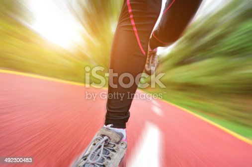 494003079istockphoto blurred sports woman legs running at  trail 492300483