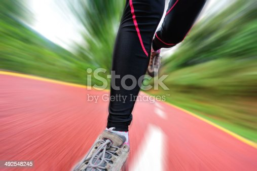 494003079istockphoto blurred sports woman legs running at  trail 492548245