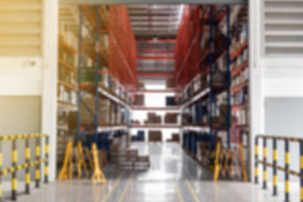 Blurred storage warehouse concept for background stock photo