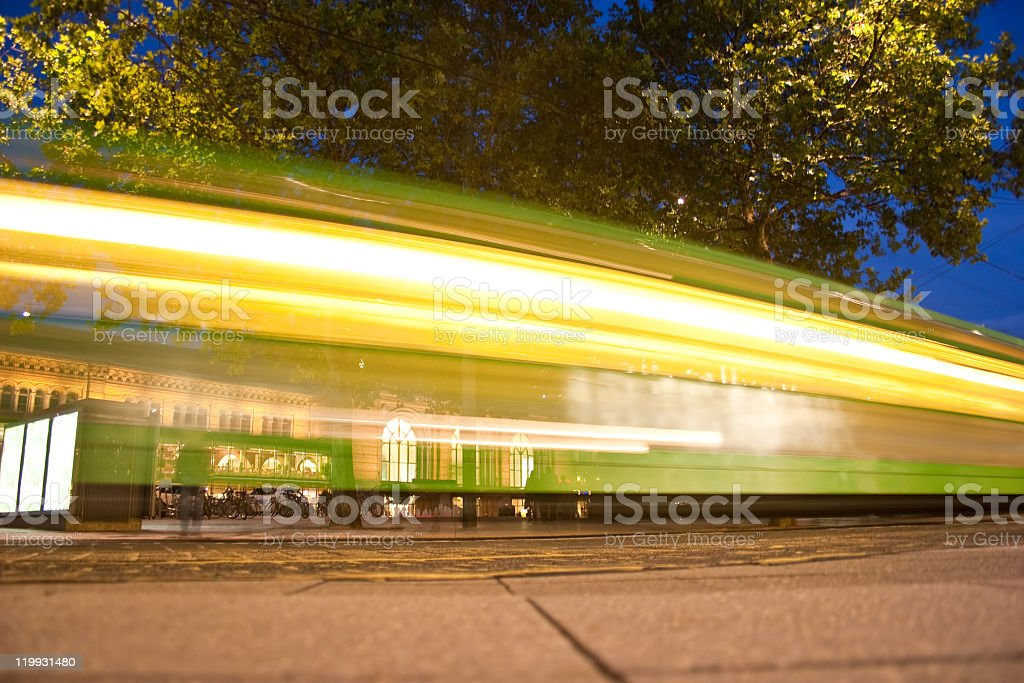 Blurred streetcar in Hannover stock photo