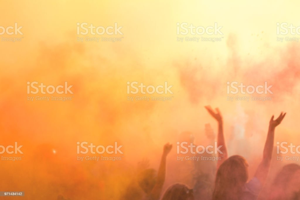 Blurred sunny sunset multicolor background. stock photo