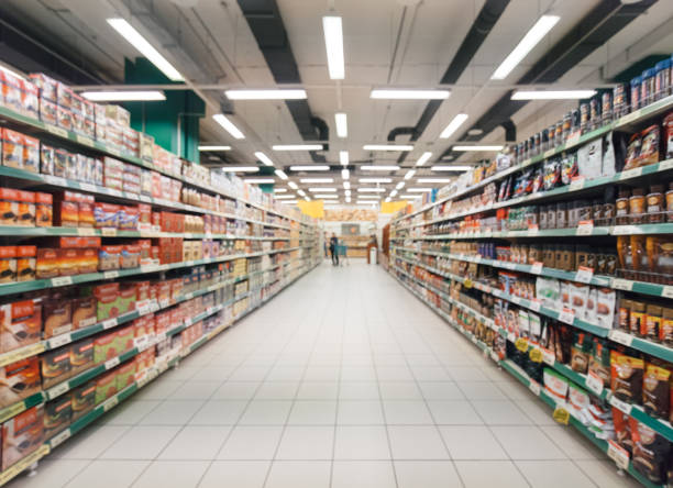 blurred supermarket aisle stock photo