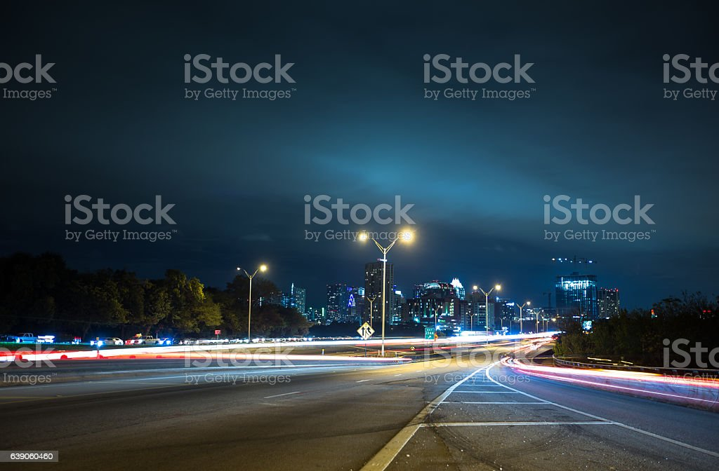 Blurred Traffic at Austin City Limits stock photo