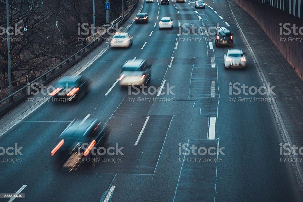 Blurred Traffic on Multi-Lane Highway stock photo