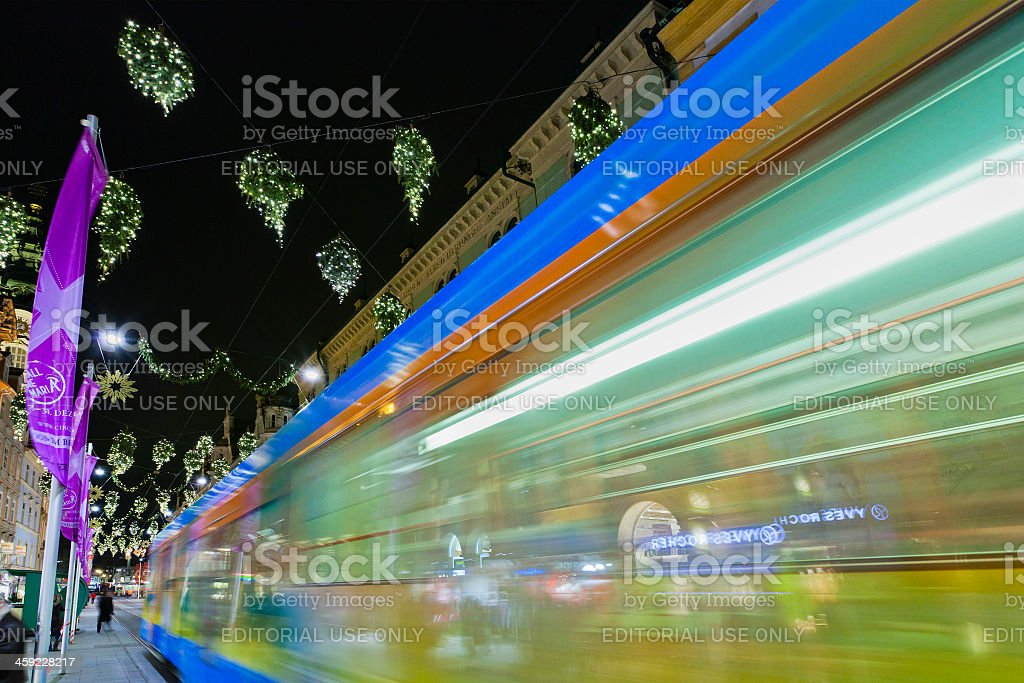 blurred tram passing royalty-free stock photo