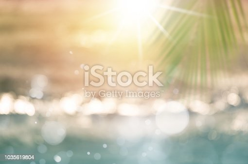 istock Blurred tropical sea at sunset. 1035619804