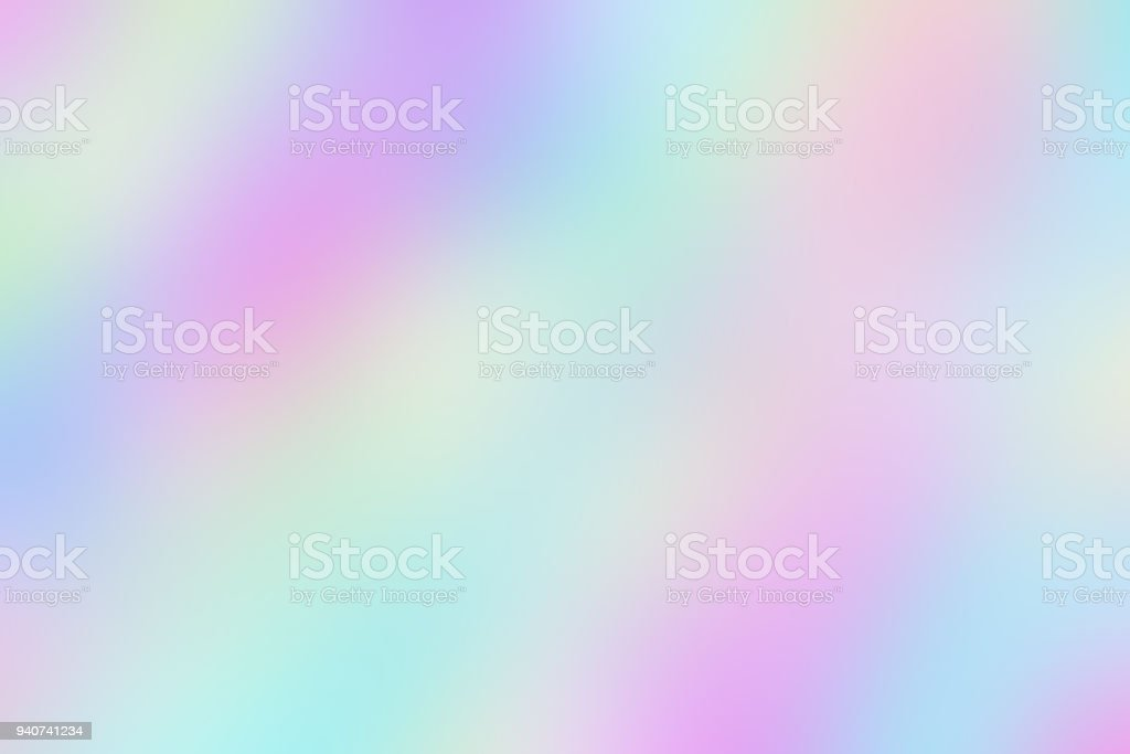 Blurred unclear iridescent background of smooth holographic paper. stock photo