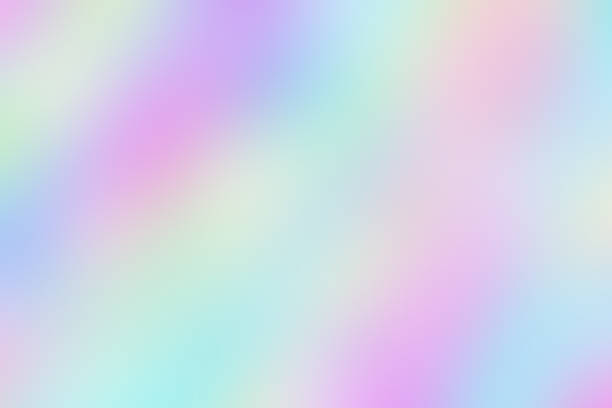blurred unclear iridescent background of smooth holographic paper. - hologram stock photos and pictures