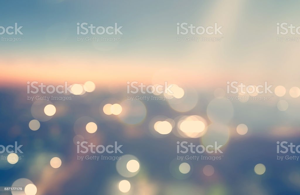 Blurred urban background scene at dawn from above stock photo