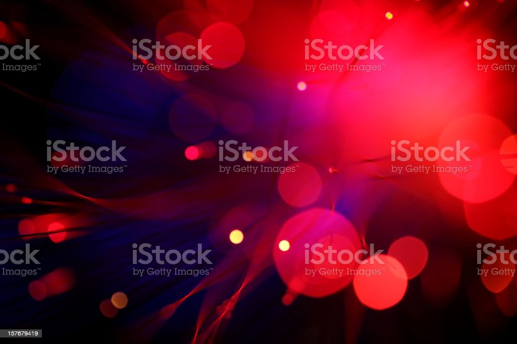 Blurred view of red lights small and large stock photo