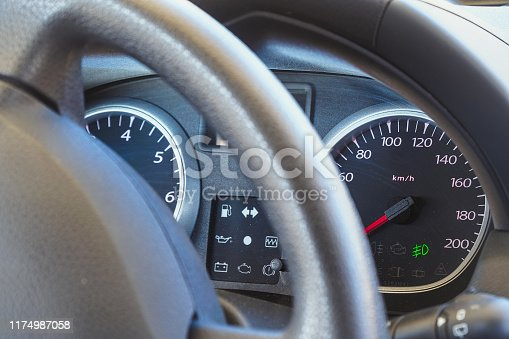 521911567 istock photo Blurred view of Speedometer and car dashboard 1174987058