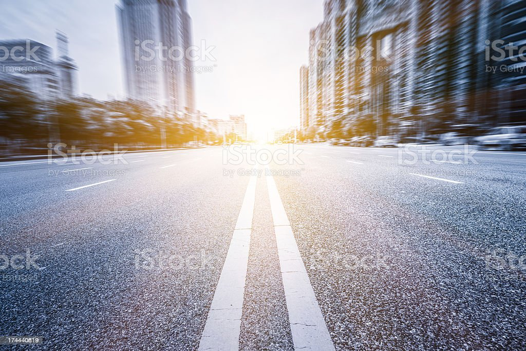 A blurred view of the city and the street stock photo