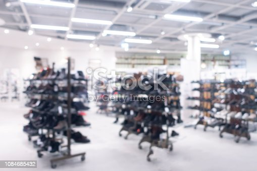 Blurred view on shoe store