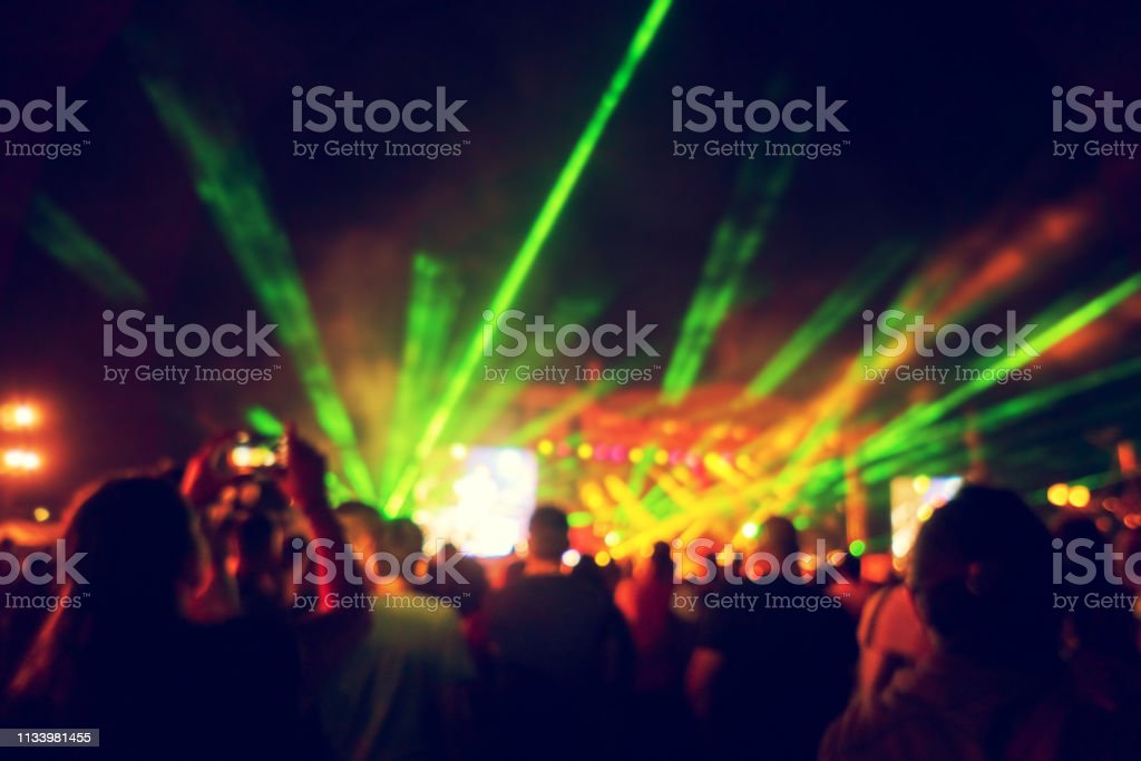Blurred Youth Music Festival of pop music. Laser show on the stage....