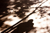 Blurry shadows and silhouettes of a person standing under the tree in black and white sepia sunlight on city street sidewalk