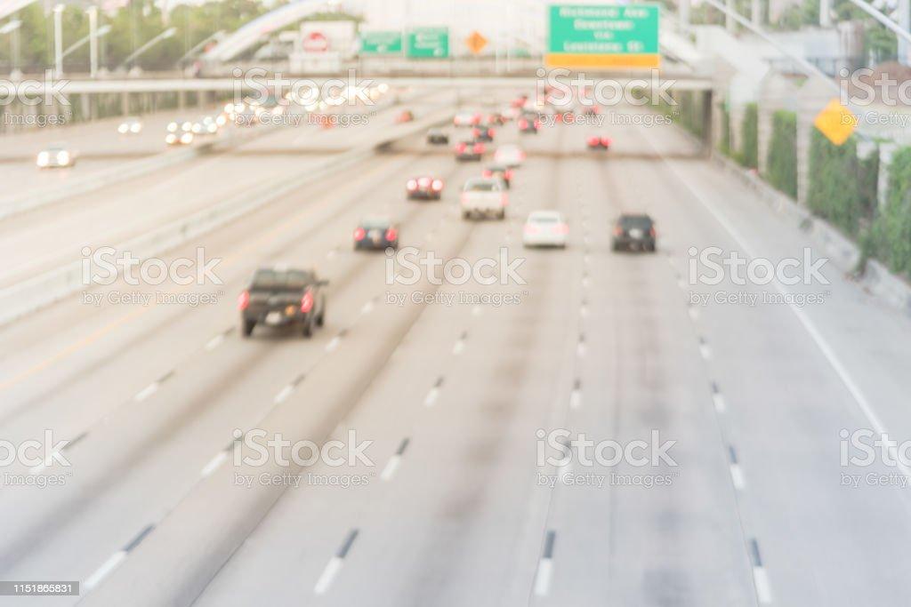 Blurry Background Motion Traffic On Interstate Highway 69