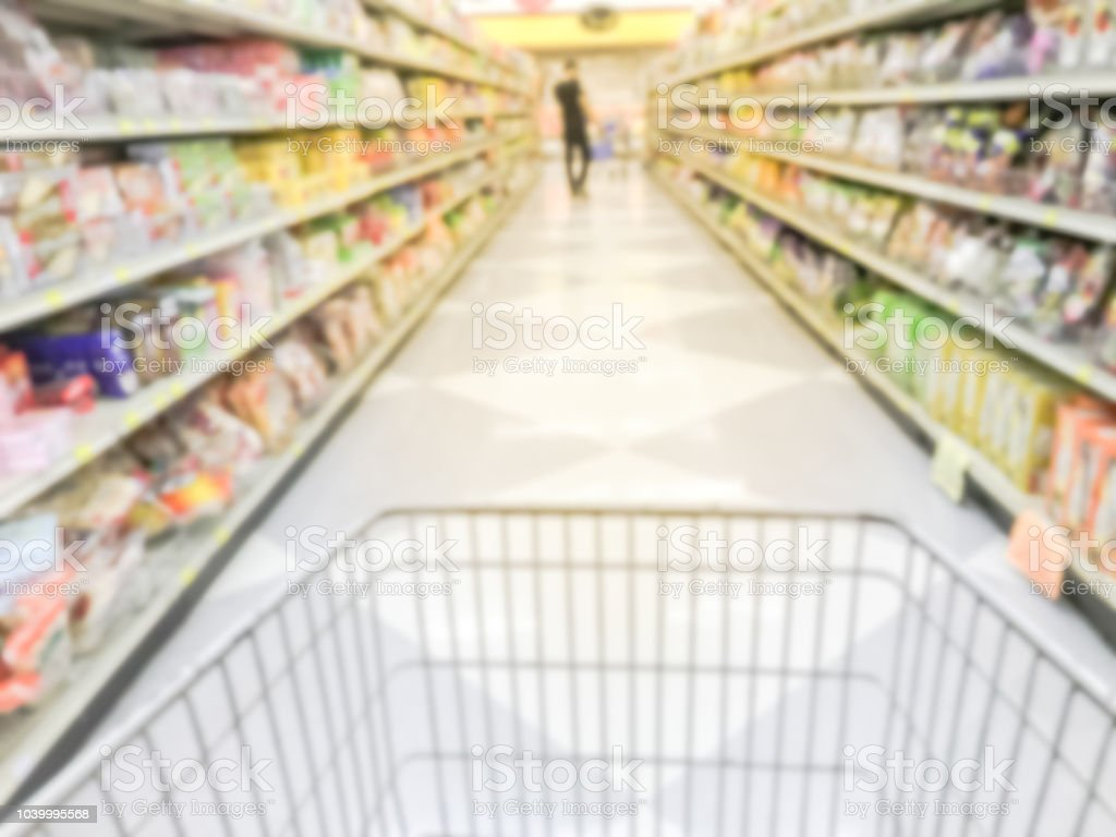 Motion blurred aisle of cookies, candies, snacks, preserved fruits...